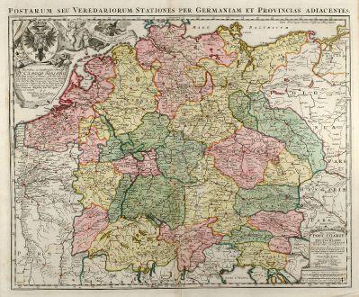 Antike Landkarten, Homann, Deutschland, Postrouten-Karte, 1709: Postarum seu Veredariorum Stationes per Germaniam et Provincias Adiacentes