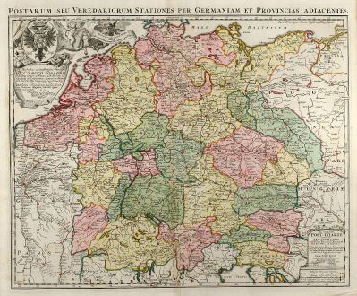 Antique Maps, Homann, Germany, Postal Routes Map, 1709: Postarum seu Veredariorum Stationes per Germaniam et Provincias Adiacentes