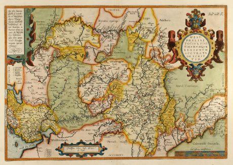 Antike Landkarten, Ortelius, Deutschland, Nordrhein-Westfalen, 1584 [1579]: Westphaliae Totius, Finitimarumque Regionum Accurata Descriptio