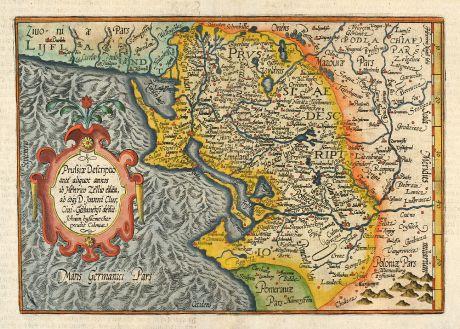 Antique Maps, Quad, Poland, East Prussia, 1593: Prussiae Descriptio