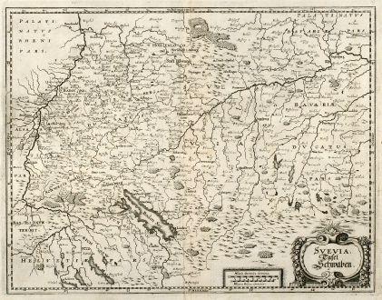 Antike Landkarten, Merian, Deutschland, Baden-Württemberg, Schwaben, 1643: Svevia. Tafel Schwaben.