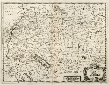 Antique Maps, Merian, Germany, Baden-Wurttemberg, Swabia, 1643: Svevia. Tafel Schwaben.