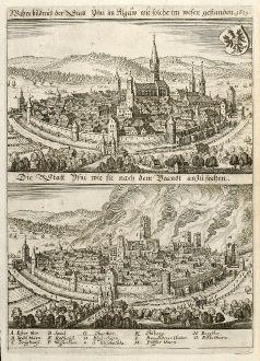 Antike Landkarten, Merian, Deutschland, Bayern, Allgäu, Isny, 1643: Wahre bildnuß der Statt Ysny im Algäw wie solche im wesen gestanden 1631. / Die Statt Ysni wie sie nach dem Brandt...