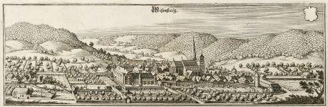 Antike Landkarten, Merian, Deutschland, Baden-Württemberg, Wiesensteig, 1643: Wisenstaig