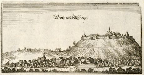 Antique Maps, Merian, Germany, Baden-Wurttemberg, Asperg, Hohenasperg, 1643: Hochen Aschberg