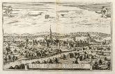 Antique town view of Wangen, Allgäu, Bavaria. Printed in Frankfurt by M. Merian in 1643.