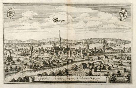 Antike Landkarten, Merian, Deutschland, Bayern, Allgäu, Wangen, 1643: Wangen