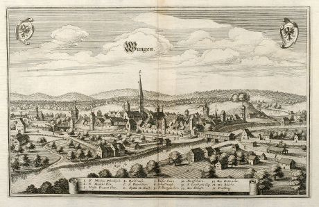 Antique Maps, Merian, Germany, Bavaria, Allgäu, Wangen, 1643: Wangen