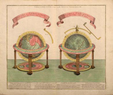 Antike Landkarten, Lotter, Globen, 1774: Globus Terrestris ad Sphaeram Obliquam Delineatus / Globus Coelestis cum Astrodictico Artificiali Iunctus