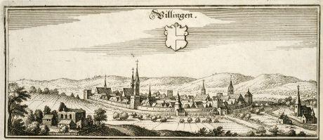 Antike Landkarten, Merian, Deutschland, Baden-Württemberg, Villingen-Schwenningen: Villingen