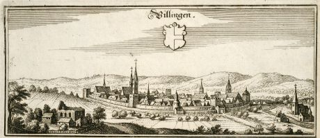 Antique Maps, Merian, Germany, Baden-Wurttemberg, Villingen-Schwenningen: Villingen