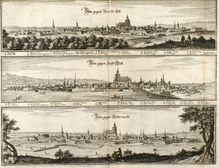 Antike Landkarten, Merian, Deutschland, Baden-Württemberg, Ulm, 1643: Ulm gegen Nordt-Ost / Ulm gegen Zuyd-West / Ulm gegen Mitternacht