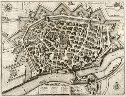 Antike Landkarten, Merian, Deutschland, Baden-Württemberg, Ulm, 1643: Ulm