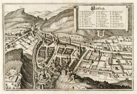 Antique Maps, Merian, Austria - Hungary, Vorarlberg, Feldkirch, 1643: Feldkirch