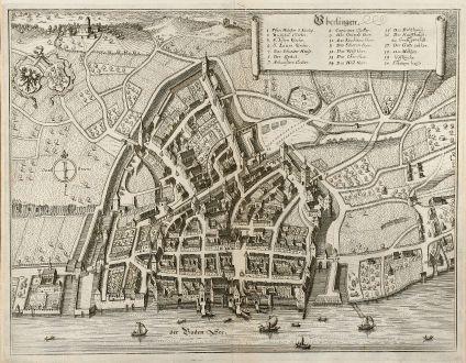 Antike Landkarten, Merian, Deutschland, Baden-Württemberg, Bodensee, Überlingen: Vberlingen