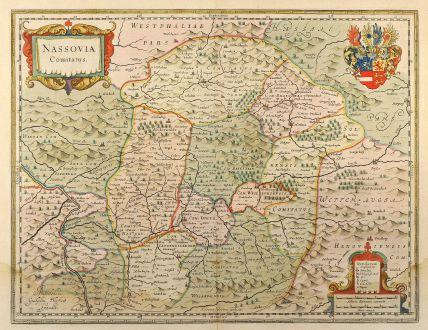 Antike Landkarten, Blaeu, Deutschland, Hessen, Rheinland-Pfalz, Nassau, 1635: Nassovia Comitatus