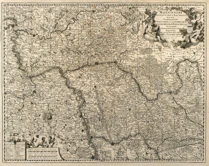 Antike Landkarten, Visscher, Deutschland, Hessen, Rheinland-Pfalz, 1680: Moguntini Archiepiscopat et Electoratus nec non Comitatum utrisque Cattimeliboci Verthemensis & Erpachiensis