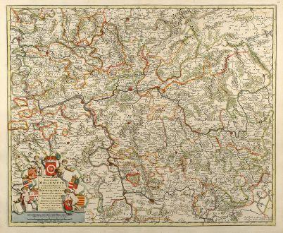 Antike Landkarten, de Wit, Deutschland, Hessen, Rheinland-Pfalz, 1690: Archiepiscopatus et Electoratus Moguntini et adjacentium Regionum, ut Landgraviatum Hasso Darmstadiensis ...