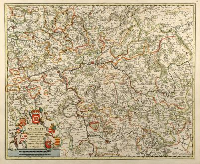 Antique Maps, de Wit, Germany, Hesse, Rhineland-Palatinate, 1690: Archiepiscopatus et Electoratus Moguntini et adjacentium Regionum, ut Landgraviatum Hasso Darmstadiensis ...