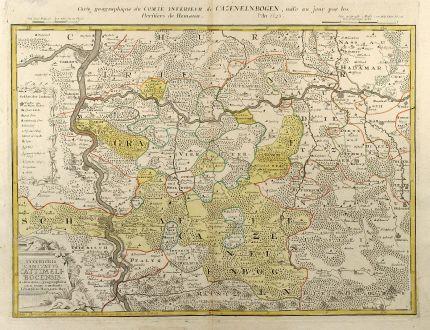Antike Landkarten, Homann Erben, Deutschland, Rheinland-Pfalz, 1745: Inferioris Comitatus Cattimeli-bocensis
