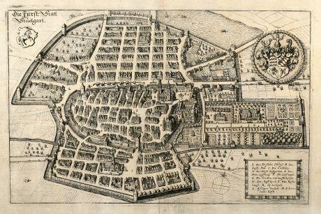 Antike Landkarten, Merian, Deutschland, Stuttgart, 1643: Die Fürst: Statt Stuetgart