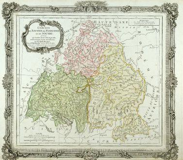 Antique Maps, Brion de la Tour, Germany, Baden-Württemberg, Bavaria, 1786: Cercles de Baviere, de Franconie, et de Souabe