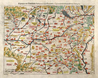 Antique Maps, Münster, Germany, Baden-Wurttemberg, Bavaria, Swabia, 1550: Schwaben und Bayerlandt darbey auch Begriffen werden Schwartzwald, Otenwald, und Nordgow.
