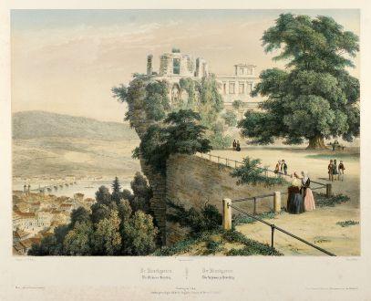 Antike Landkarten, Deroy, Deutschland, Baden-Württemberg, Heidelberg, 1844: Le Stuckgarten Du Château d'Heidelberg - Der Stuckgarten Des Schlosses zu Heidelberg