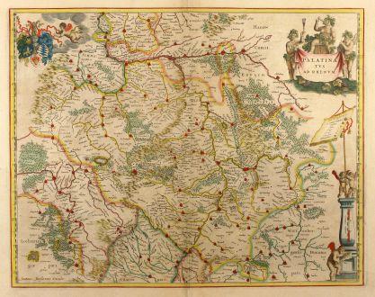 Antike Landkarten, Janssonius, Deutschland, Rheinland-Pfalz, 1650: Palatinatus ad Rhenum