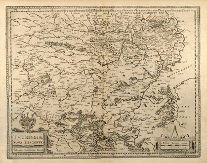 Antique Maps, Janssonius, Germany, Thuringia, 1650: Thuringiae Nova Descriptio