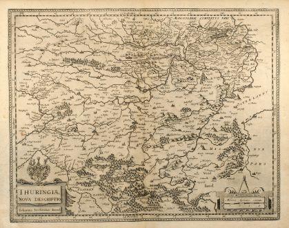 Antique Maps, Janssonius, Germany, Thuringia, 1650: Thuringiae Nova Descriptio