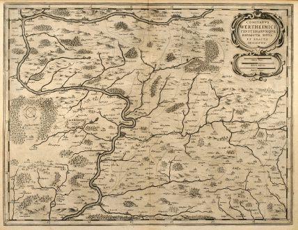 Antike Landkarten, Janssonius, Deutschland, Franken, Wertheim, Würzburg, 1650: Comitatus Wertheimici Finitimarumque Regionum Nova et Exacta Descriptio