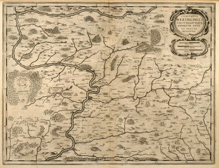 Antique Maps, Janssonius, Germany, Franken, Wertheim, Würzburg, 1650: Comitatus Wertheimici Finitimarumque Regionum Nova et Exacta Descriptio