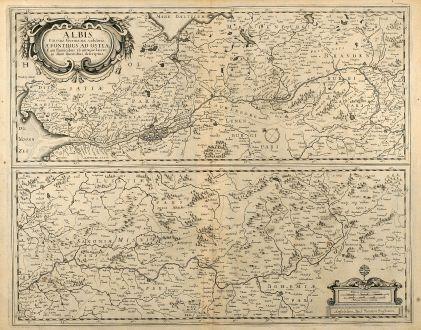 Antike Landkarten, Janssonius, Deutschland, Elblauf, 1650: Albis Fluvius. Germaniae Celebris, a Fontibus ad Ostia ...