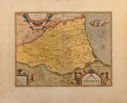 Antique Maps, Ortelius, Italy, Abruzzo, 1612: Aprutii Ulterioris Descriptio 1590