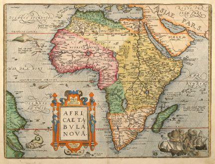 Antike Landkarten, Ortelius, Afrika Kontinent, Afrikanischer Kontinent, 1603: Africae Tabula Nova