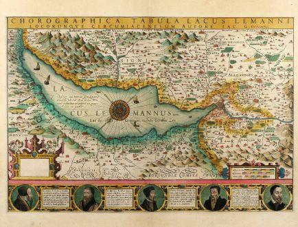 Antike Landkarten, Mercator, Schweiz, Genfersee, 1606: Chorographica Tabula Lacus Lemanni Locorumque Circumiacentium Auctore Iac. G. Genevensi