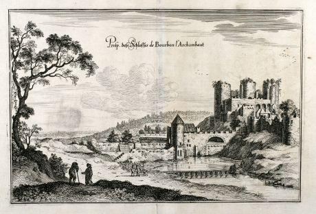 Antike Landkarten, Merian, Frankreich, Allier, Burg von Bourbon l Archambaut: Prosp. dess Schlosses de Bourbon l'Archambaut