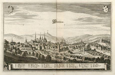 Antique Maps, Merian, Germany, Baden-Wurttemberg, Pforzheim, 1643: Pfortzheim