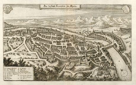 Antike Landkarten, Merian, Deutschland, Bayern, Allgäu, Kempten, 1643: Die Statt Kempten im Allgäw