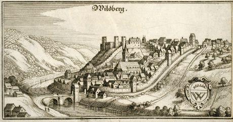 Antike Landkarten, Merian, Deutschland, Baden-Württemberg, Wildberg, 1643: Wildberg