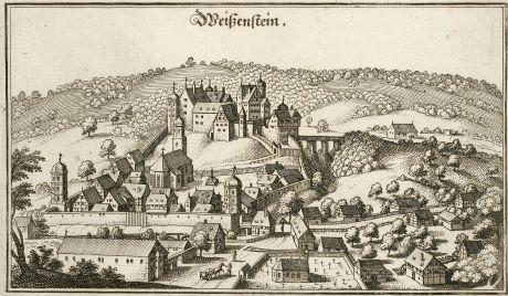Antike Landkarten, Merian, Deutschland, Baden-Württemberg, Weißenstein, 1643: Weißenstein