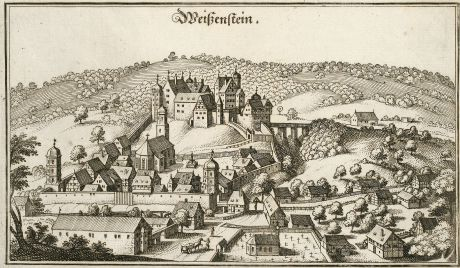 Antique Maps, Merian, Germany, Baden-Wurttemberg, Weissenstein, 1643: Weißenstein