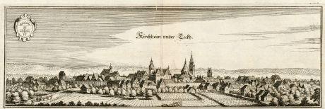 Antike Landkarten, Merian, Deutschland, Baden-Württemberg, Kirchheim Teck, 1643: Kirchheim under Teckh