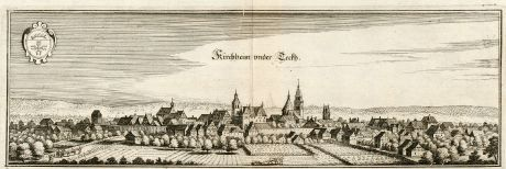 Antique Maps, Merian, Germany, Baden-Wurttemberg, Kirchheim Teck, 1643: Kirchheim under Teckh