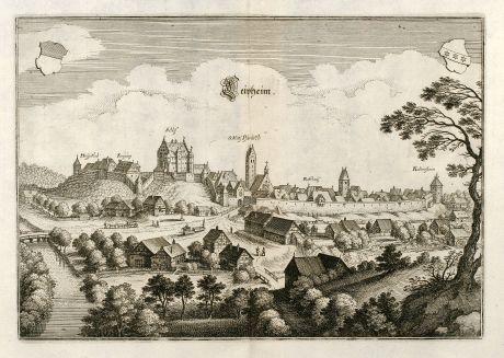 Antike Landkarten, Merian, Deutschland, Baden-Württemberg, Schwaben, Leipheim: Leipheim