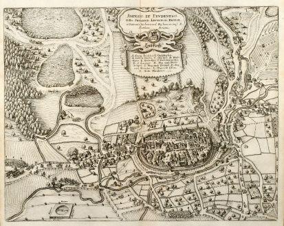 Antike Landkarten, Merian, Deutschland, Bayern, Allgäu, Leutkirch, 1643: Ampliss. et Prudentiss. DDn. Senator. Leütkirch. Favor. / Leütkirch