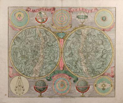 Antike Landkarten, Lotter, Himmelskarten, 1750: Planisphaerium Coeleste