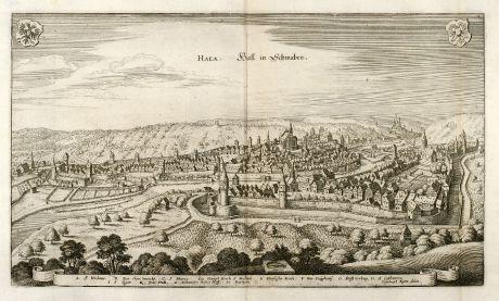 Antike Landkarten, Merian, Deutschland, Baden-Württemberg, Schwäbisch Hall: Hala. Hall in Schwaben.