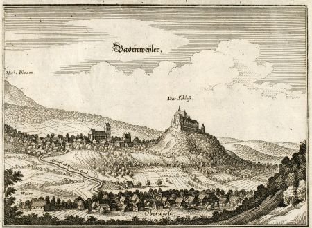 Antike Landkarten, Merian, Deutschland, Baden-Württemberg, Badenweiler, Oberweiler: Badenweyler